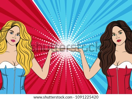 blonde and brunette on red blue