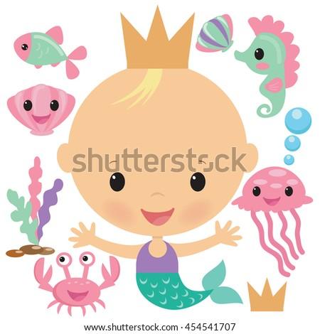 blonde baby mermaid vector