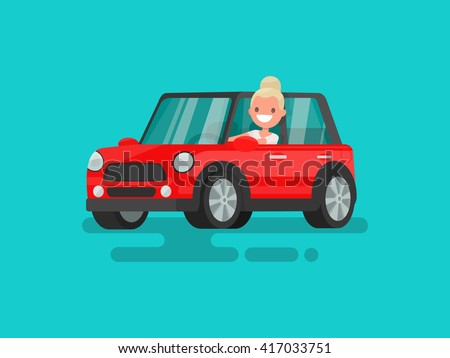 blonde driving a car vector