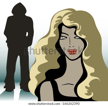blonde girl and a silhouette of