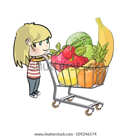 Blonde girl buying fruit in a supermarket. Vector illustration.