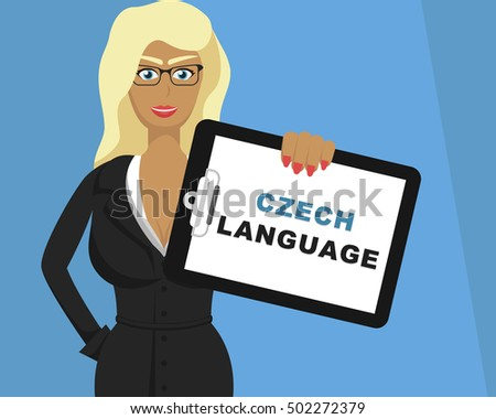 blonde girl hold tablet with