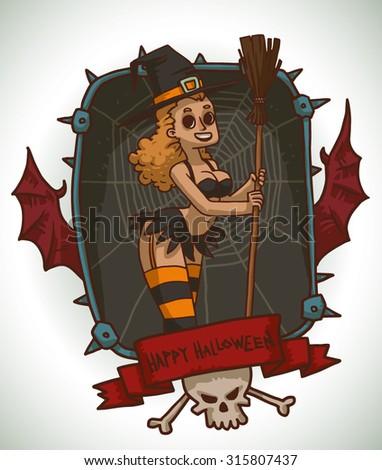 blonde girl in black and orange
