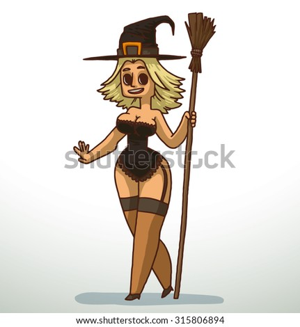 blonde girl in black witch
