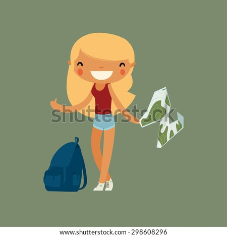 blonde girl traveler