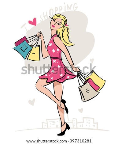 blonde happy girl with shopping