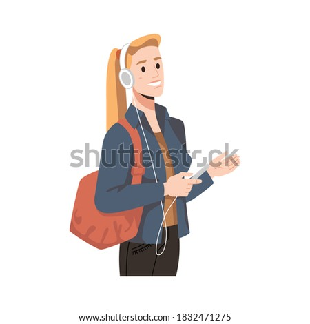 blonde woman in headphones and