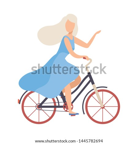 blonde woman in light blue