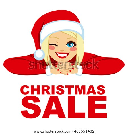 blonde woman wearing santa hat