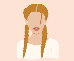 Blonde woman with pigtails. Vector girl face on the pink isolated background.