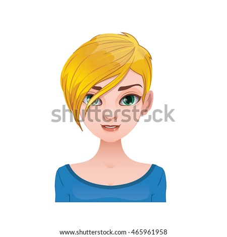 blonde woman with short and