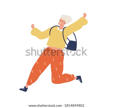 Blonde young woman in trendy clothes running fast. Enthusiastic modern female character in a hurry. Flat vector cartoon illustration isolated on white background Сток-фото ©