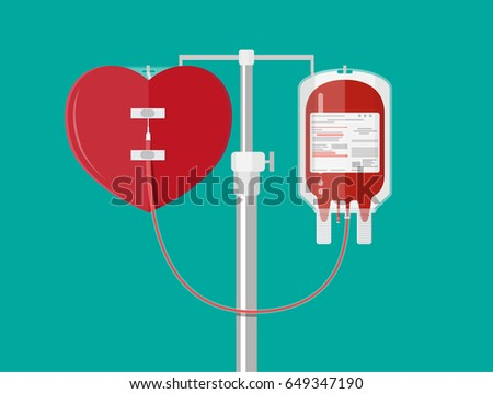 Blood bag and heart at holder. Blood donation day concept. Human donates blood. Vector illustration in flat style.
