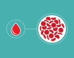 Blood Cells and blood droplet icon - Vector illustration