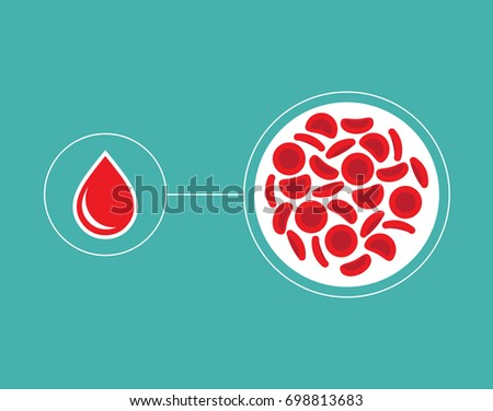 Stock Photo Blood Cells and blood droplet icon - Vector illustration