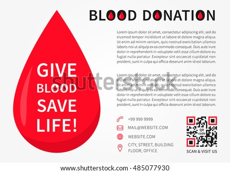 Blood Donation horizontal poster vector template. Blood Donation banner layout with sample text, big red drop, contact information and qr code. Phrase Give Blood Save Life graphic design.