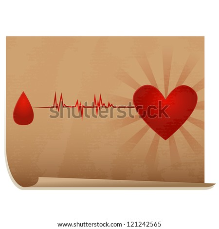 Blood donation/Old paper icon with drop of blood going with ecg to heart