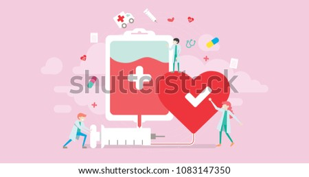 Blood Donor Charity Tiny People Character Concept Vector Illustration, Suitable For Wallpaper, Banner, Background, Card, Book Illustration, Web Landing Page, and Other Related Creative