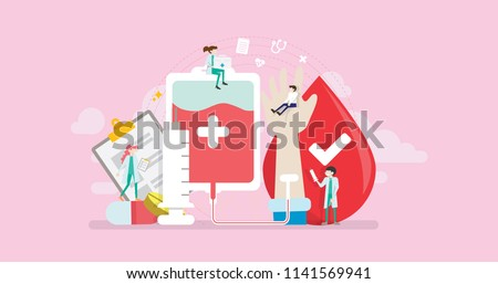 Blood Donor Tiny People Character Concept Vector Illustration, Suitable For Wallpaper, Banner, Background, Card, Book Illustration, And Web Landing Page