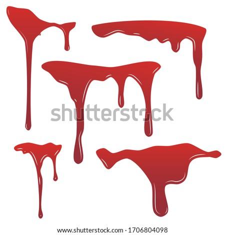 Blood drip set. Drop blood isloated white background. Bleeding bloodstain scare texture. Liquid paint Vector illustraton.