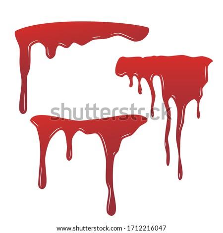 Blood drip set. Drop blood isloated white background. Happy Halloween decoration design. Red splatter stain splash spot, horror blot. Bleeding bloodstain scare texture. Liquid paint