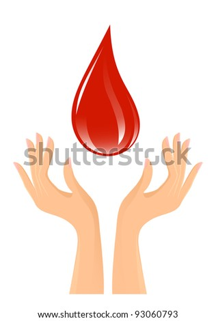 Blood drop and hands