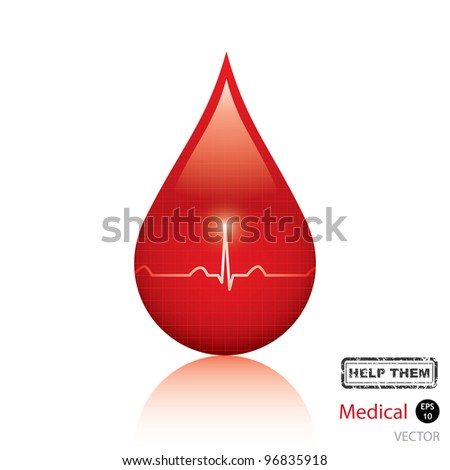 Blood drop isolated on white background.Medical vector