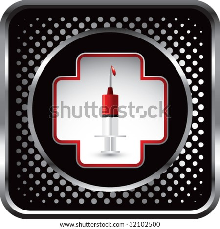 blood in syringe inside first aid icon on black halftone web button