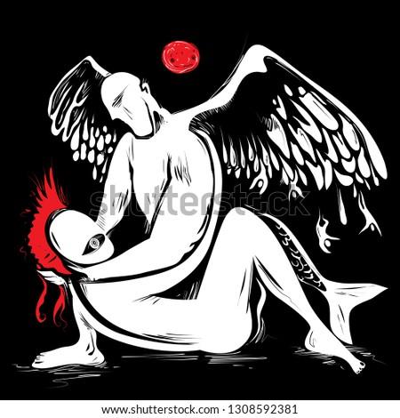 blood moon and angels below