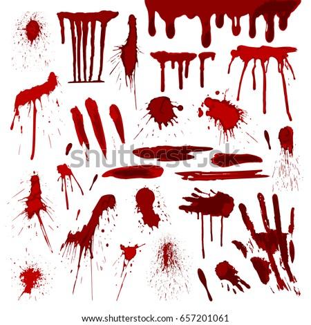 blood or paint drip splatters