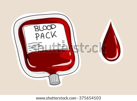 blood pack  a hand drawn vector
