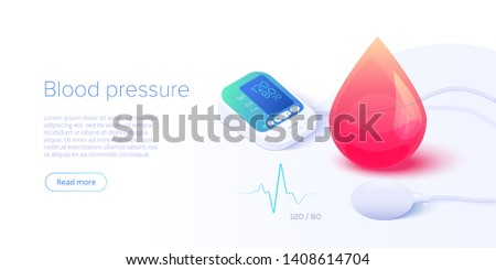 Blood pressure concept in isometric vector illustration. Arterial pressure measuring or checking machine. Medical sphygmomanometer monitor or tonometer diagnostics background. Web banner template.