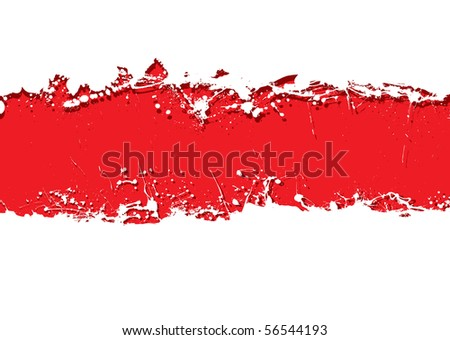Blood red background with white grunge ink splat banner
