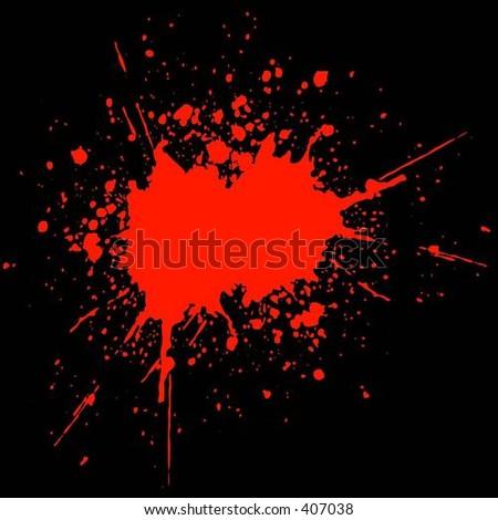 Blood splat on black - vector - stock vector