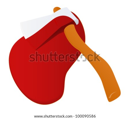Bloody cartoon axe - stock vector