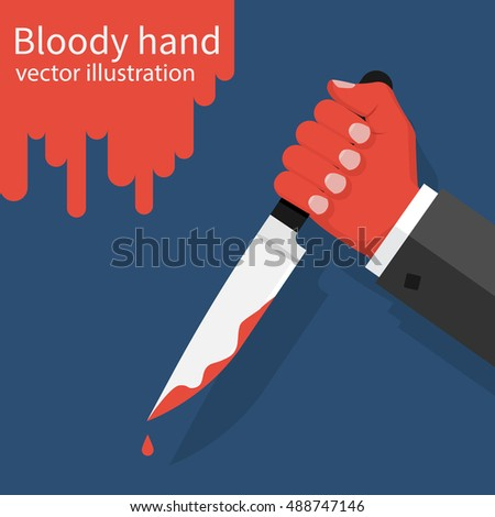 bloody hand holding a knife
