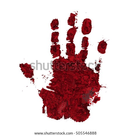 bloody hand print isolated on