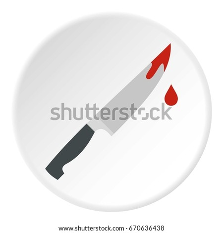 bloody knife icon in flat