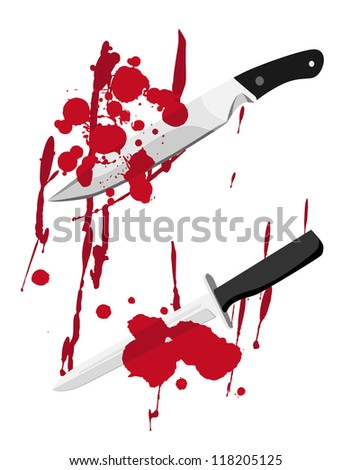 Bloody knife with blood splatter.