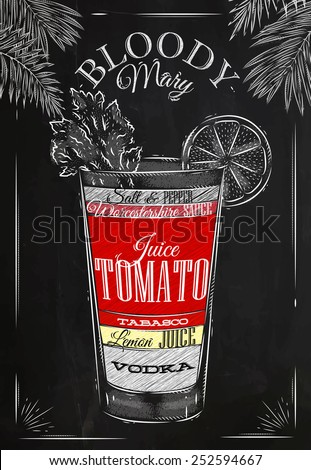 Bloody mary cocktail in vintage style stylized drawing with chalk on ...