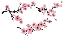 Blooming cherry. Sakura branch with flower buds. Cartoon drawing of a flowering tree in spring. Logo with japanese cherry. Tattoos .