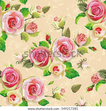 Blooming English roses seamless pattern. Spring vintage floral background. Beautiful vector illustration texture