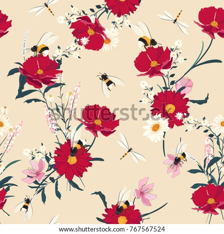 blooming flowers seamless