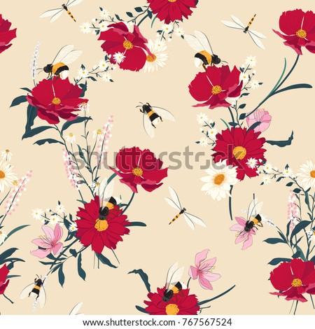 blooming flowers seamless