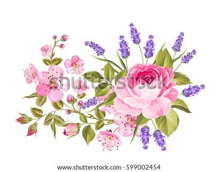 blooming spring flowers garland