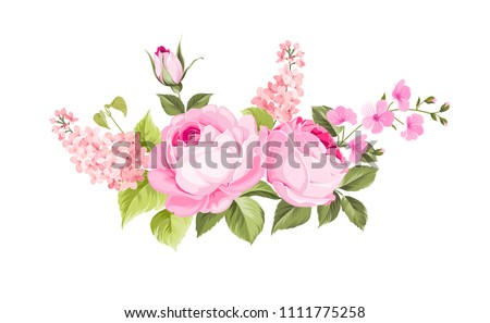 Blooming spring flowers garland of purple roses, sakura and lilac. Label with rose and sacura flowers. #1111775258