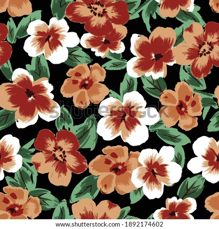 Blooming summer or fall meadow seamless pattern. Plant background for fashion, wallpapers, print. Red, orange and white flowers on black. Liberty style floral. Trendy floral design