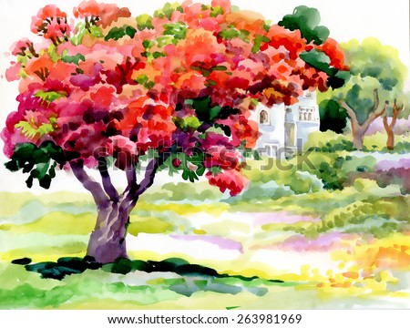 blooming watercolor spring tree