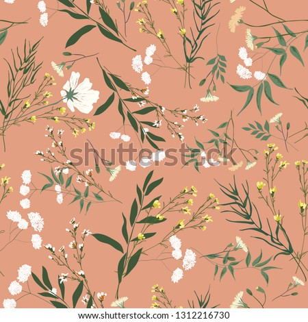 Blossom floral seamless pattern. Blooming botanical motifs scattered random. Trendy colorful vector texture. Good for fashion. Ditsy print. Hand drawn different wild meadow flowers on pink background
