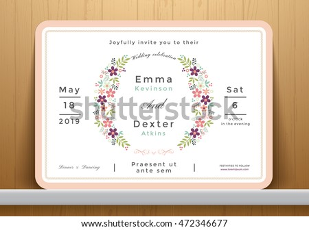 Blossom flowers wedding invitation card, save the date card